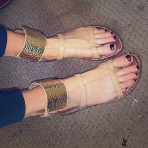 Sam Edelman tan and gold strap sandals